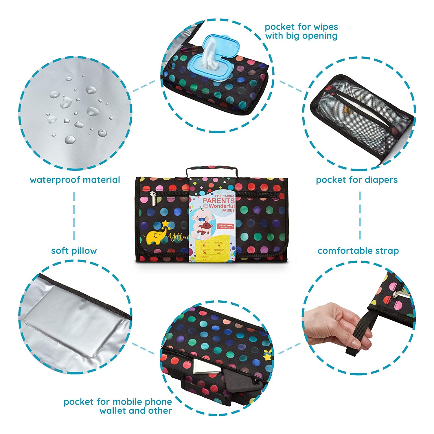 Ample Storage Space Lightweight Yellowphant Portable Baby Diaper Changing Pad Larger Napkin Slot Foldable /& Chic Mat Design and Durable Compact for Smart Diaper Changing Station