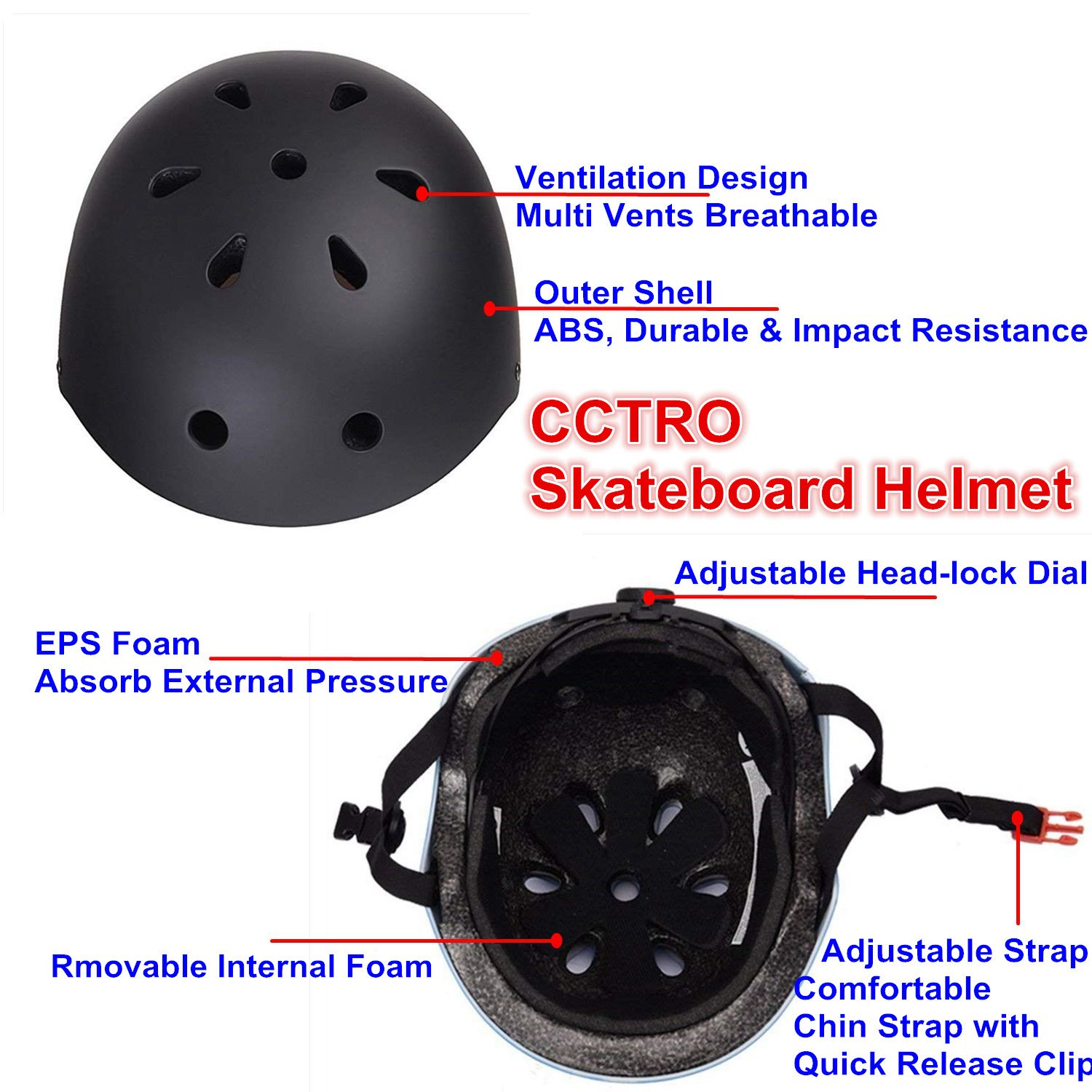 Amazon.com: CCTRO - Casco de monopatín, ajustable ...