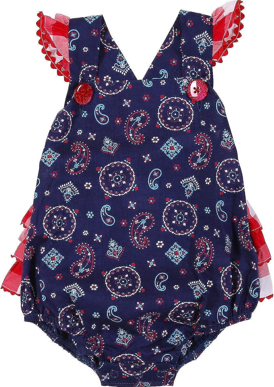 PQ6325M Wrangler Baby Girl/'s Navy Bandana Sleeveless Romper With Ruffle Trim NEW