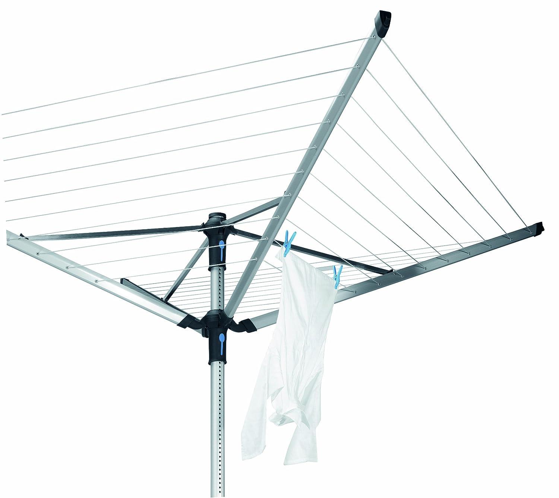 50 m Gris Metalizado Acero Inoxidable Brabantia Lift-O-Matic Tendedero de Jard/ín con Soporte y Funda