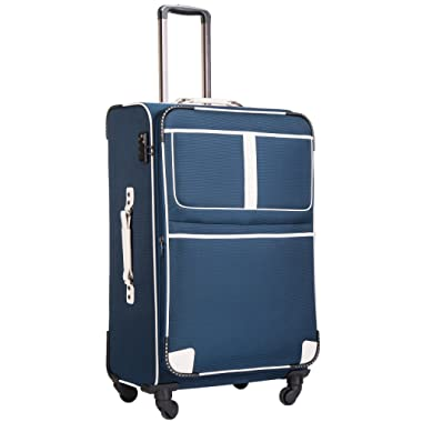 Coolife Luggage Expandable Suitcase Spinner Softshell TSA Lock (M(24in), Navy)
