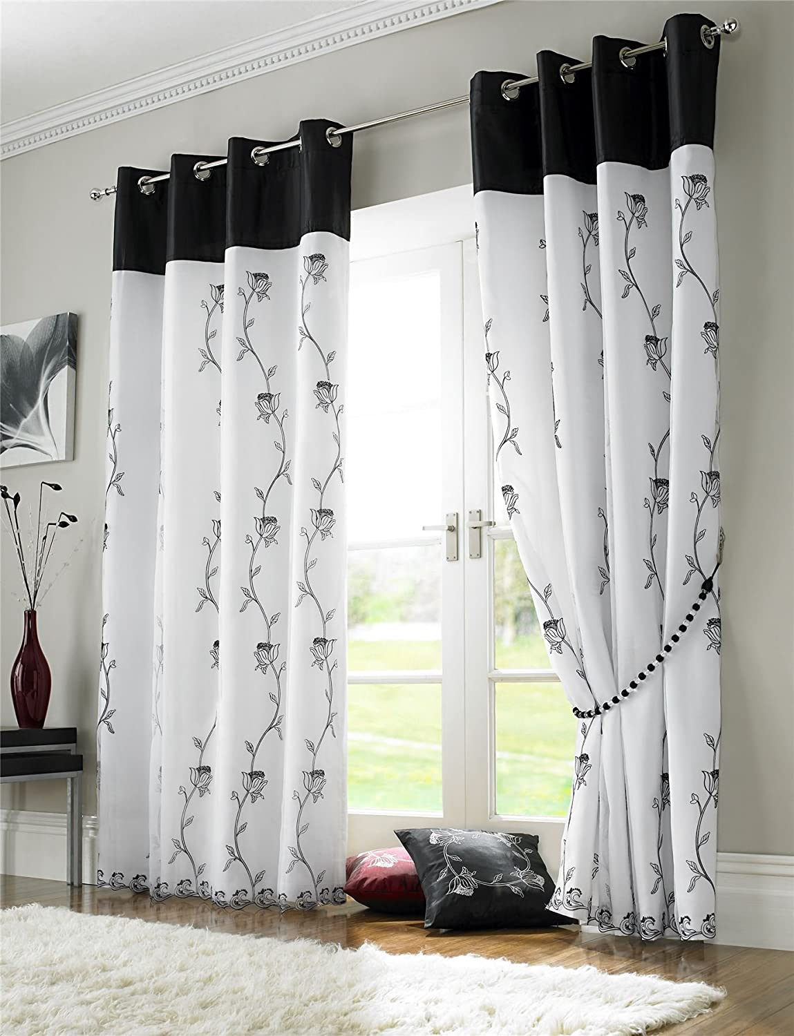 BLACK WHITE FLORAL ROSE FULLY LINED RING TOP VOILE CURTAIN DRAPES