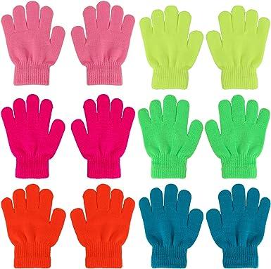QKURT 12 Packs of Winter Magic Gloves for Kids,Full Fingers Winter Knitted Magic Stretch Gloves Thermal Winter Gloves for Boys Girls Baby