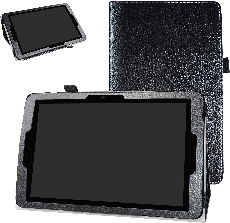 "ZTE ZPad 10 Inch Tablet Case,Bige PU Leather Folio 2-Folding Stand Cover for 10.0"" ZTE ZPad 10 Inch (Model K90U) Tablet,Black"