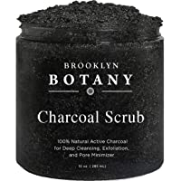 Activated Charcoal Scrub 10 oz - For Deep Cleansing & Exfoliation - Pore Minimizer & Reduces Wrinkles, Acne Scars, Blackhead Remover & Anti Cellulite Treatment - Great Body Scrub & Facial Cleanser