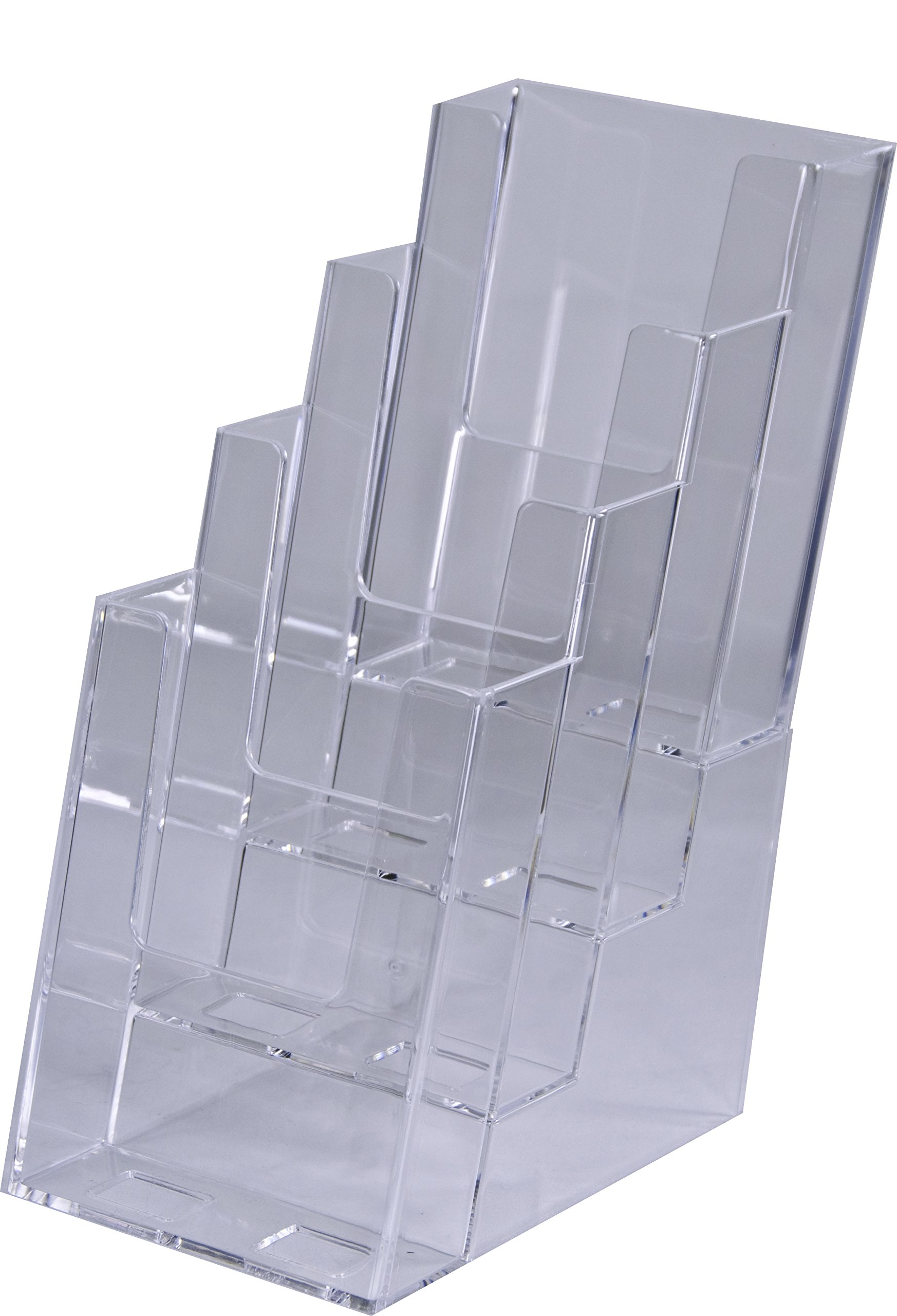 Clear-Ad - LHF-S104 - Acrylic Slant Back 4 Tier Trifold Brochure Display - Plastic Literature Holder for Flyers, Booklets, Bills, Mail, Letters, Cards, Pamphlets, Maps (Pack of 4) by Clear-Ad (Image #3)