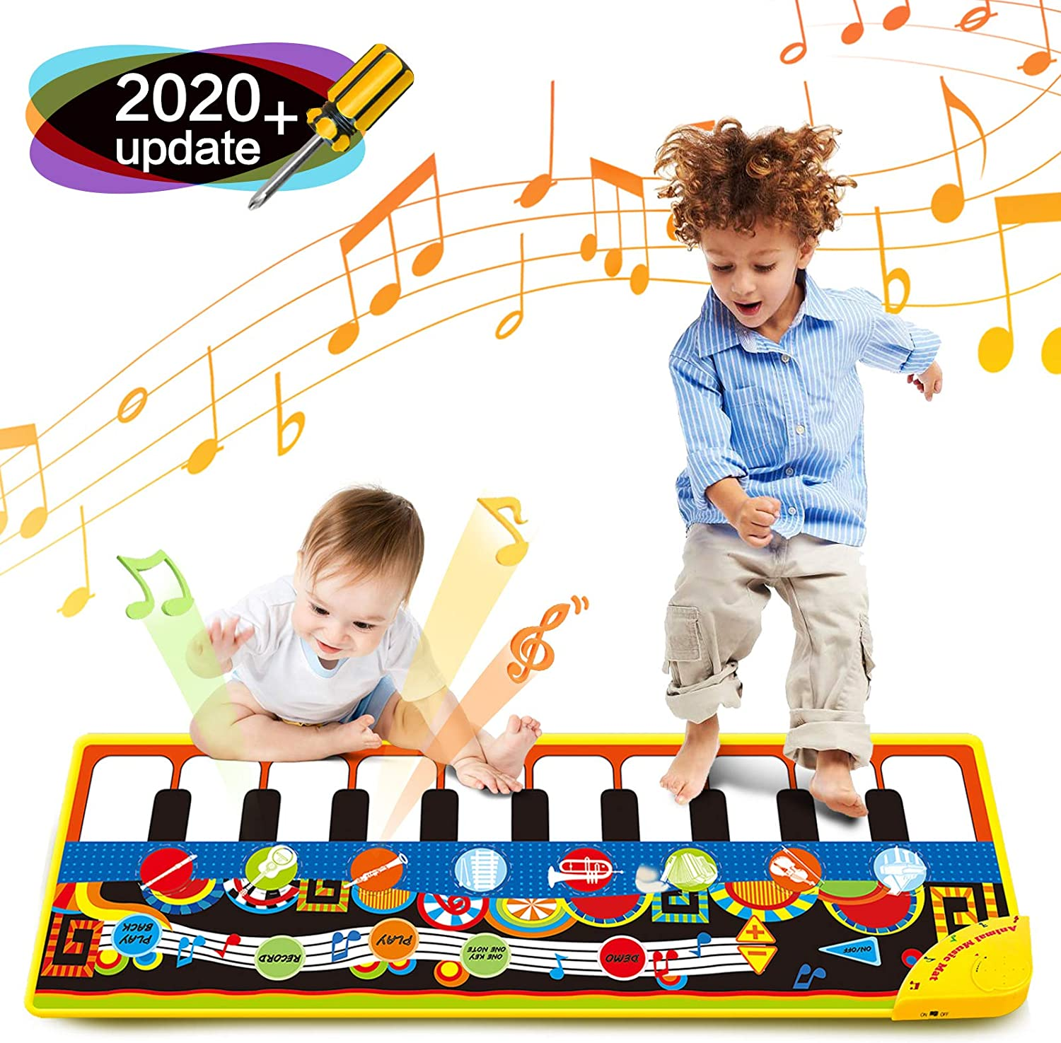 51.18 * 18.89 Inches Piano Playmat Mat Kids Piano Keyboard Music Playmat Toy Super Large Size Funny Dancing Mat for Babies Toddler Boys and Girls Gift