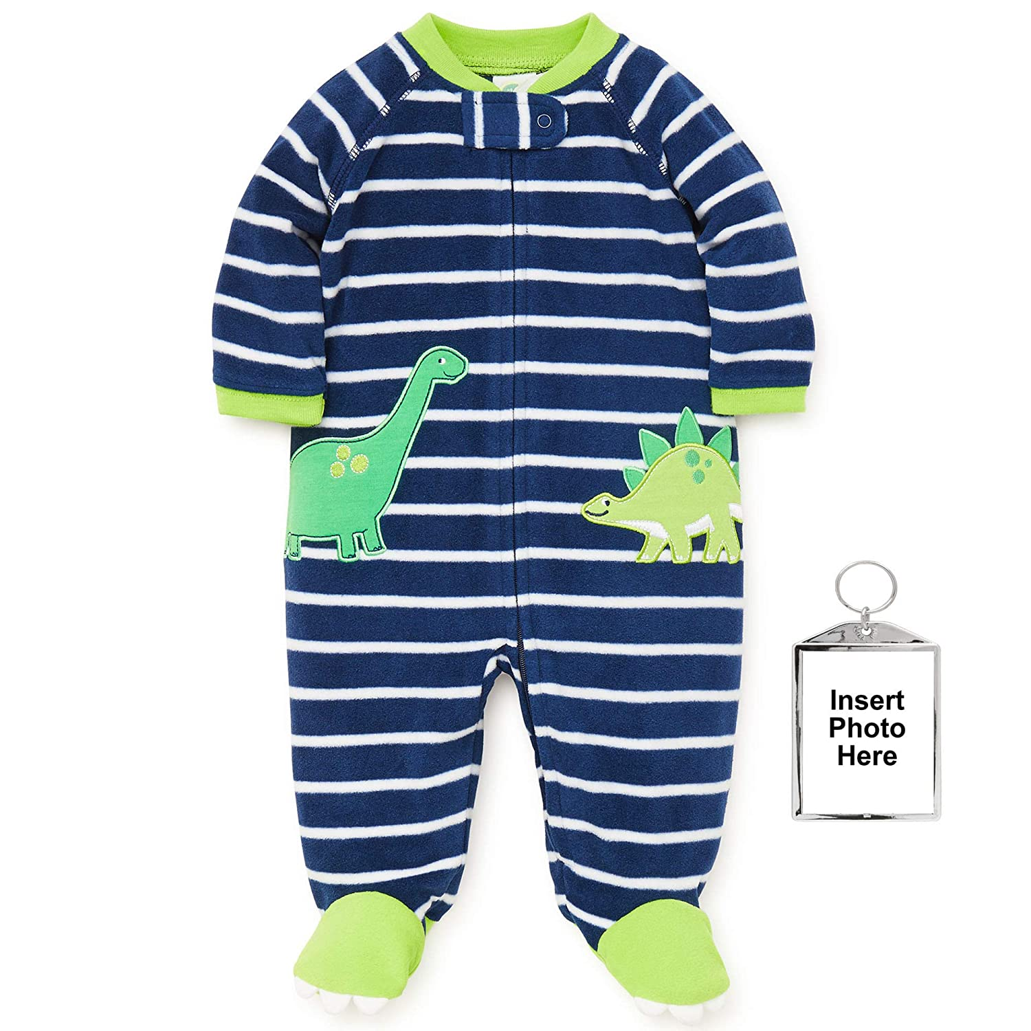 Amazon.com: Little Me Warm Fleece Baby Pajamas Footed Blanket Sleeper Footie Navy Dinosaur 3 Months: Baby