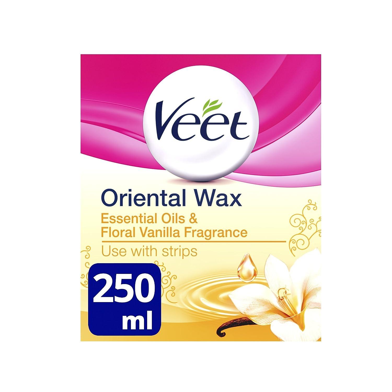 Veet Essential Oils and Floral Vanilla Warm Wax Microwavable Jar, 250 ml 48550