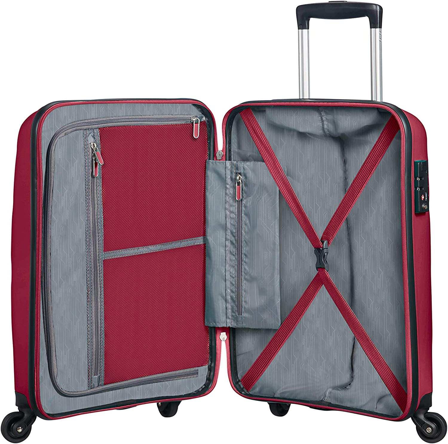 Burgundy Purple Spinner Small Strict Hand Luggage American Tourister Bon Air 31.5 liters 55 cm Red