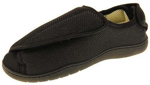 5dc455249f583 Footwear Studio Réglable Velcro Orthopédique Pantoufles Hommes EU 36-37  Noir Maille