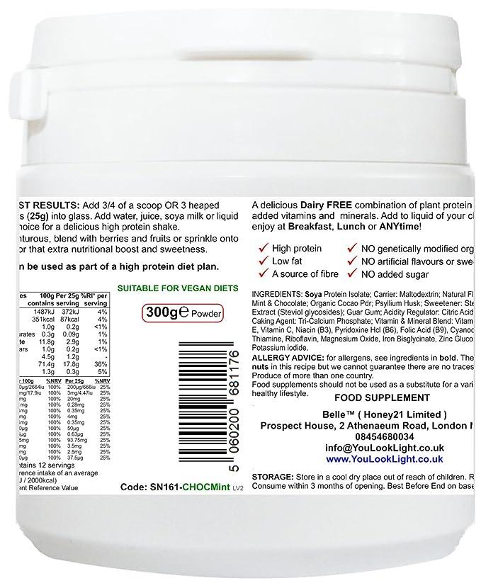 Belle® Vegan Meal time Polvo de proteína de soja - Chocolate Mint Flavour - sin leche, libre de gluten y vegano - Shake de proteína de soja no GM - 300g: ...