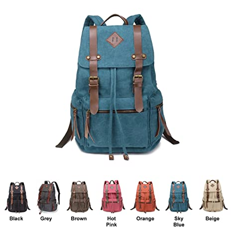 3a386d0c2a Amazon.com: Queenie - Canvas Causal Daypack Laptop Backpack College ...
