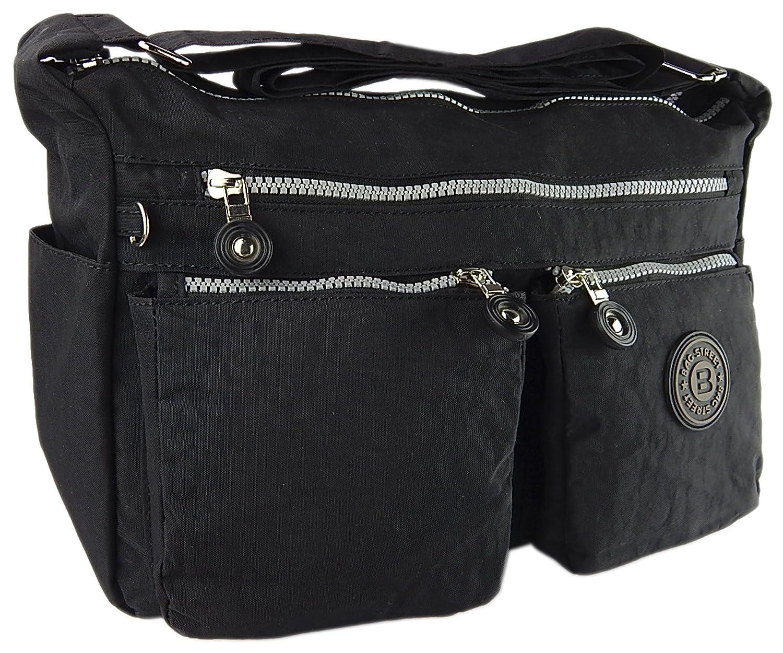 Bag street hochwertige Damenhandtasche aus Crinkle Nylon Schultertasche Sportliche Umhängetasche (Braun)