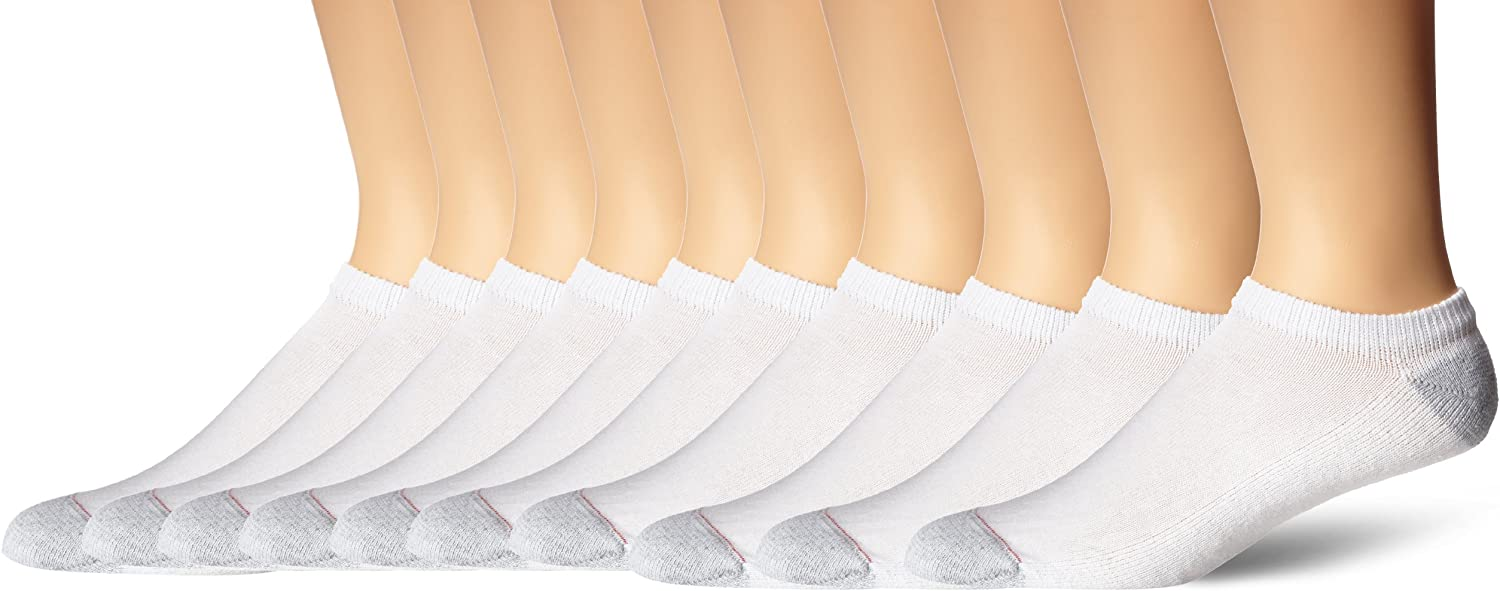 Hanes Men's Ultimate No Show Socks, 10-Pack, White, Shoe Size: 6-12
