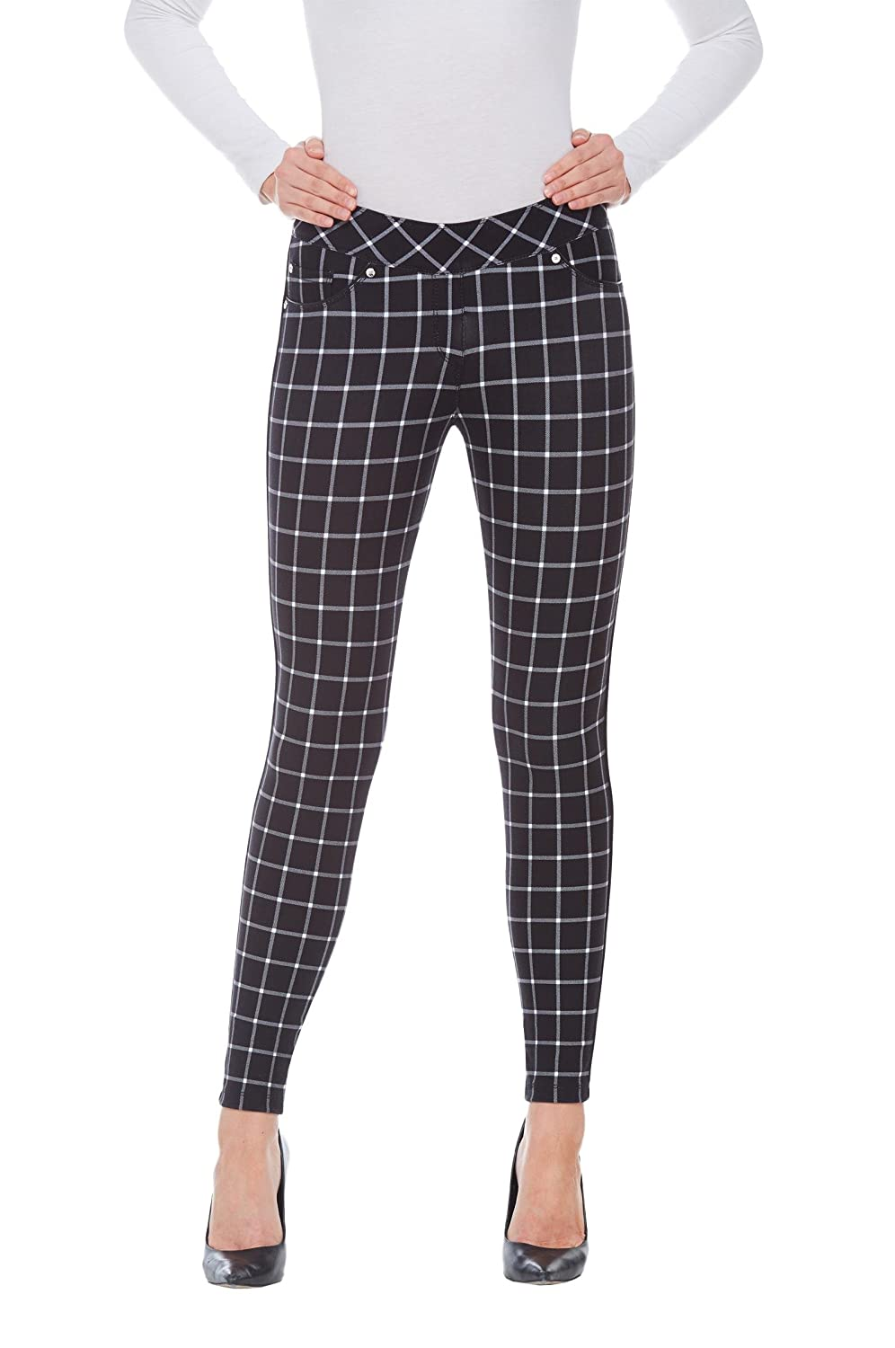 Plus Luxe C4J Plaid Piped Jeggings BlkWhtCheck 1X Nygard