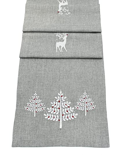 Christmas Table Runner Uk.Peggy Wilkins Grey Embroidered Christmas Table Runner