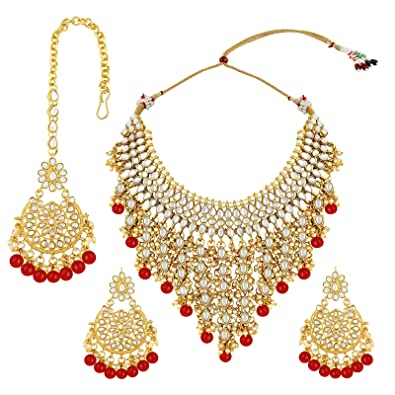 5b89e250c Buy Spargz Gold Plated Kundan Stone with Pearl Designer Choker Necklace  Online at Low Prices in India