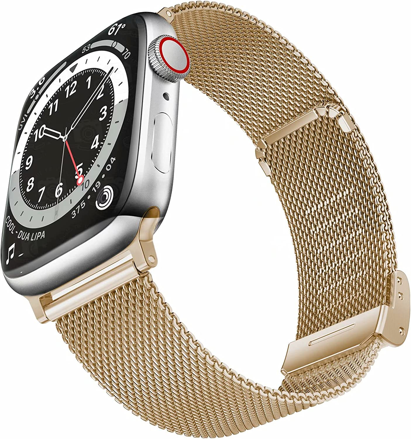 Geoumy Bands Compatible with Apple Watch Band 42mm 44mm, Stainless Steel Milanese Mesh Loop Replacement Men Women Strap for iWatch Series SE/6/5/4/3/2/1,Light Gold