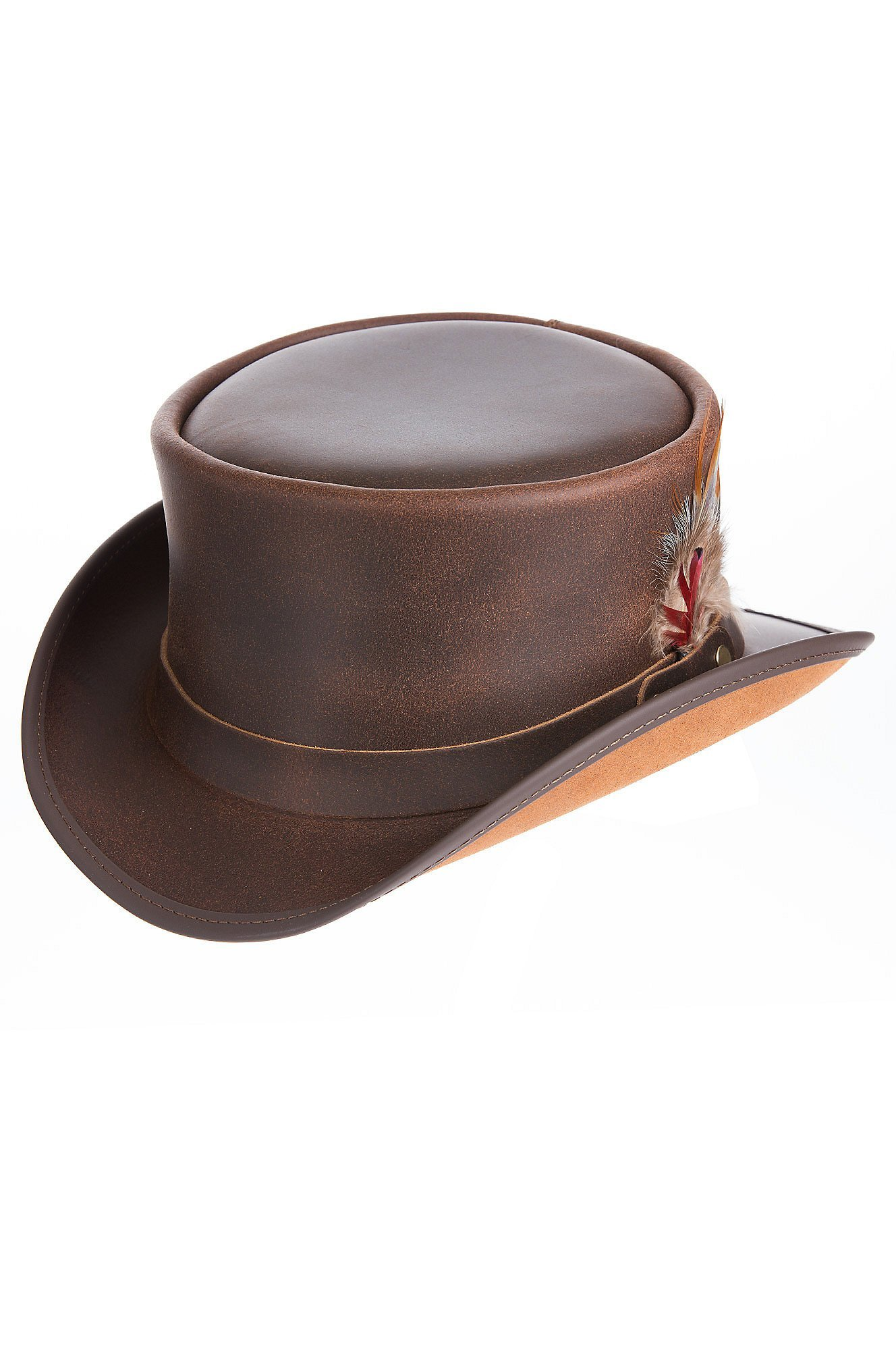 Steampunk Victorian Marlow Leather Top Hat, Brown, Size Medium (7)