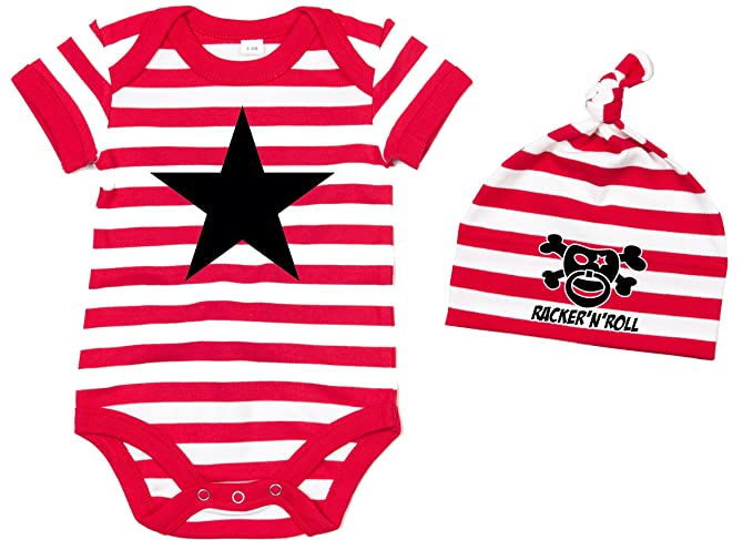 3c454d8d3835 Racker-bLACK sTAR bonnet n-roll body set body pour bébé à rayures  rouge blanc  Amazon.fr  Vêtements et accessoires