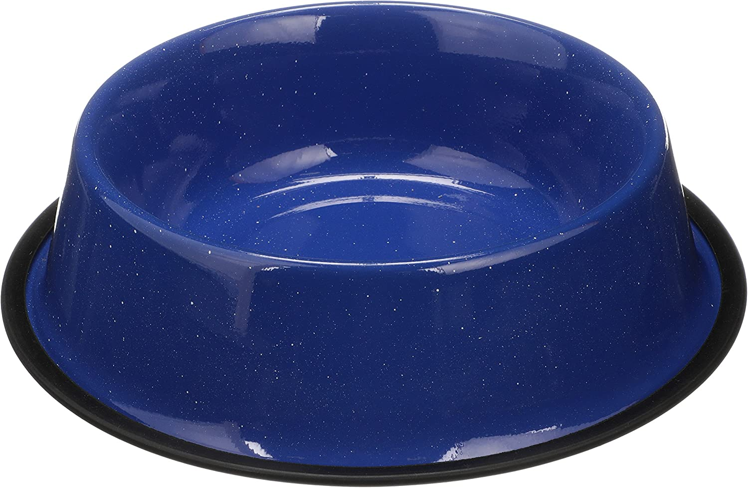 Neater Pet Brands - Camping Style Pet Bowl - Enamel Ware Blue Black Granite Colors - Dog Cat No Tip Skid Bowls