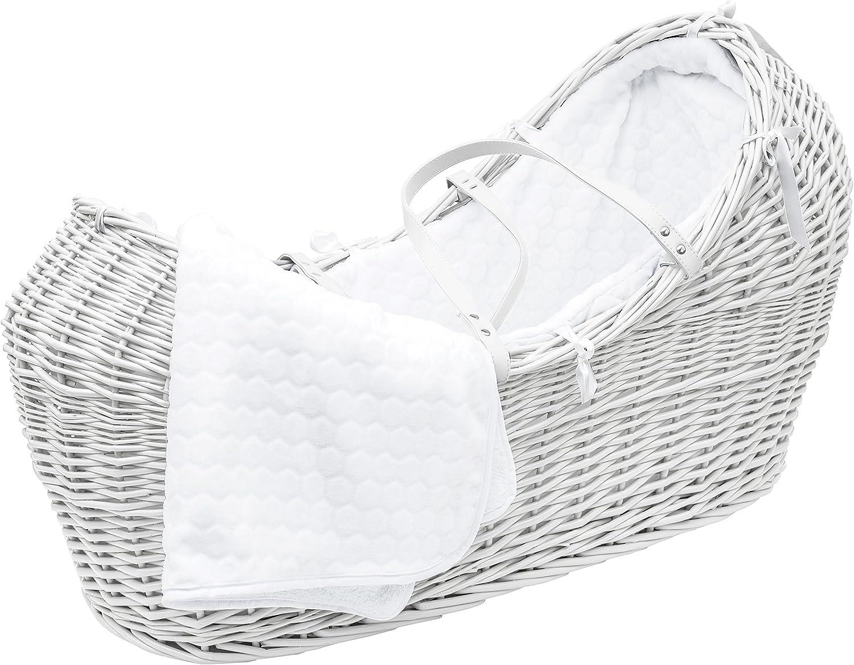 White Noah Pod Moses Basket//White Honeycomb Dressing