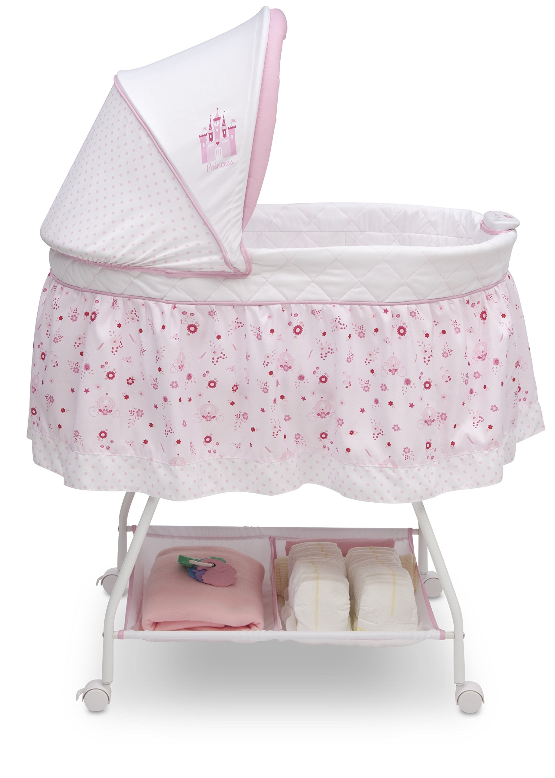 Disney Baby Ultimate Sweet Beginnings Bedside Bassinet – Portable Crib with Lights, Sounds and Vibrations, Disney Princess