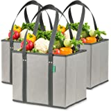 Reusable Grocery Shopping Box Bags (3 Pack - Gray). Large, Premium Quality Heavy Duty Tote Bag Set with Extra Long Handles &