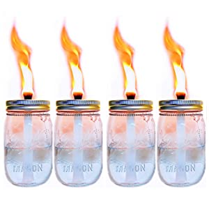 4 Pack Glass Mason Jar Tabletop Torch,Outdoor Oil Lamp Torch,Patio Garden Party Wedding Decor Torch Lights