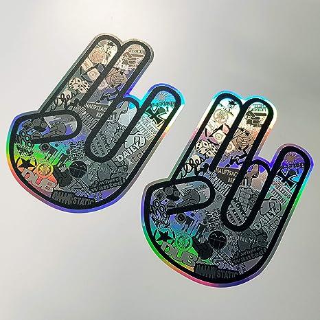 2x Shocker Hand Stickerbomb Hologramm Oilslick Rainbow Flip Flop Schwarz Aufkleber Metallic Effekt Shocker Hand Auto Jdm Tuning Oem Dub Decal Stickerbomb Bombing Sticker Illest Dapper Fun Oldschool Auto