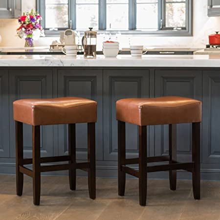 Great Deal Furniture Duff Backless Leather Counter Stool Set of 2 in Hazelnut