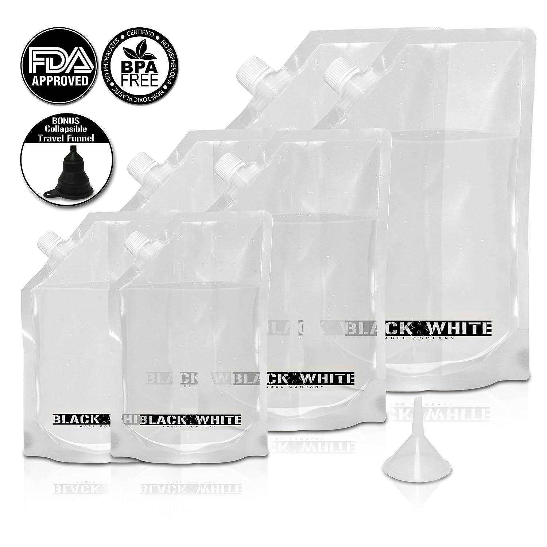(6) Black & White Label Premium Plastic Flasks - Liquor Rum Runner Flask Cruise Kit Sneak Alcohol Drink Wine Pouch Bag Set Heavy Duty Reusable Concealable Flasks For Booze & Cocktails 2x32oz+2x16oz+2x8oz + Funnel PFK-7PCS15