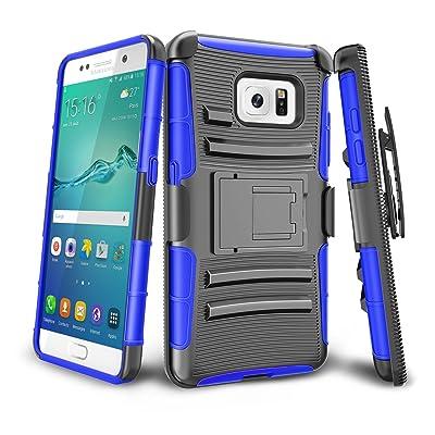 Funda Samsung S6 ,XY-shell Carcasa [Clip de cinturón giratorio de 180 grados][Soporte para Móvil de Armadura]Funda Silicona Anti-patín y Anti-Aranazos para Samsung S6 2015[Azul]