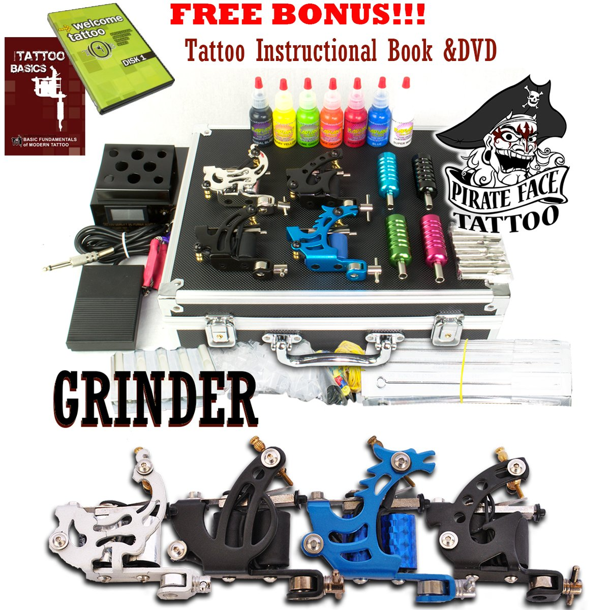 GRINDER Tattoo Kit by Pirate Face Tattoo / 4 Tattoo Machine Guns - Power Supply / 7 Ink by Radiant Colors - Made in the USA/LCD Power Supply / 50 Needles/PLUS Accessories by Pirate Face Tattoo