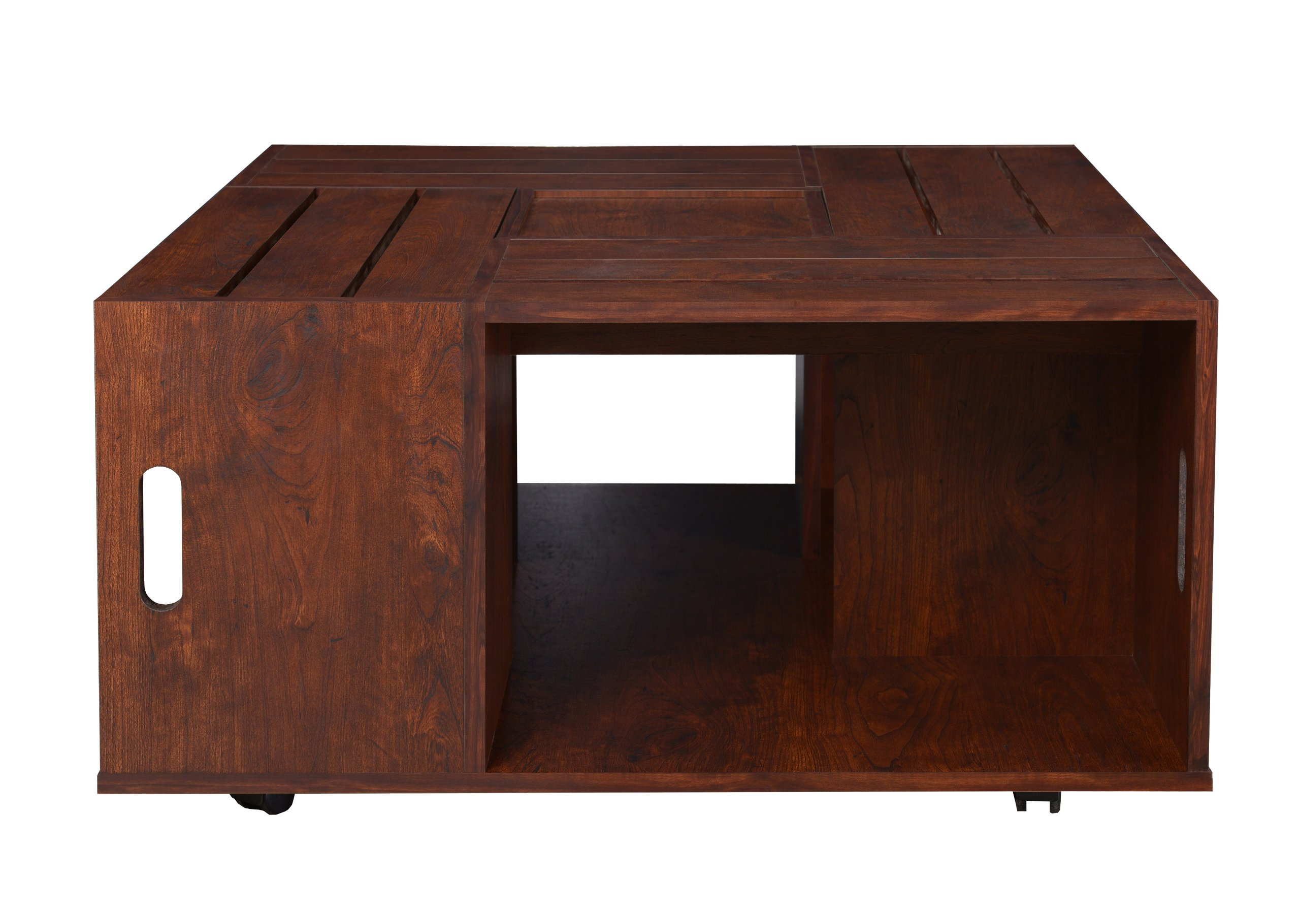 247SHOPATHOME YNJ-142-6 Gianna Coffee Table, Vintage Walnut - Contemporary style (1) open shelf with (4) storage compartments Smooth Rotating caster wheels - living-room-furniture, living-room, coffee-tables - 81o0Ddi6EiL -