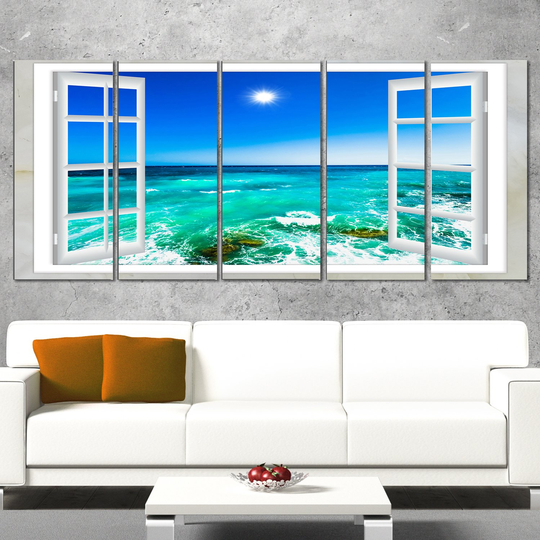 Designart PT11428-401 5 Piece ''Open Window to Wavy Ocean'' Extra Large Seashore Canvas Art, 60 x 28'', Blue