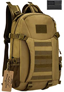 ArcEnCiel Men Tactical Military Molle Gym Bag Badminton Backpack with Patch -Rain Cover Included