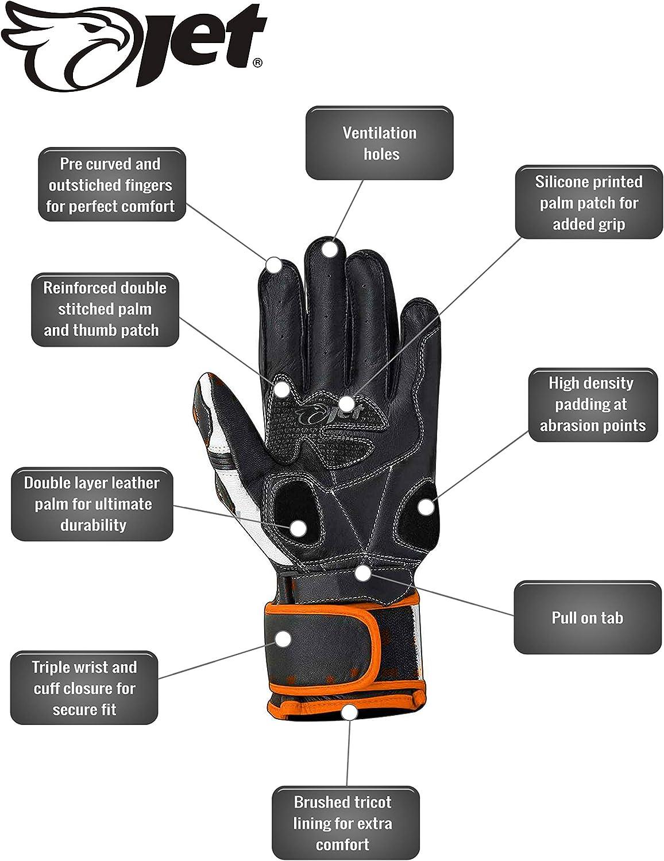 M, Silver JET Motorcycle Motorbike Gloves Premium Full Leather Gauntlet Race Hard Knuckle Gloves