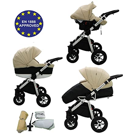 3 in 1 Baby Buggy Pram Travel System Stroller Pushchair with Carrycot /& Car Seat