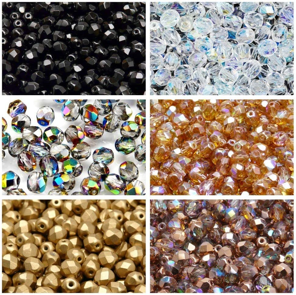 41-761 Dollar Value 5-100 Package Mystery Box! Sizes /& Finishes Czech Faceted Fire-Polished Round Beads in Assorted Colors
