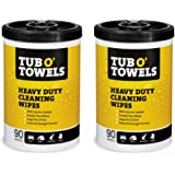 """Tub O Towels Heavy-Duty 10"""" x 12"""" Size Multi-Surface Cleaning Wipes, 90 Count Per Canister - 2 Pack"""