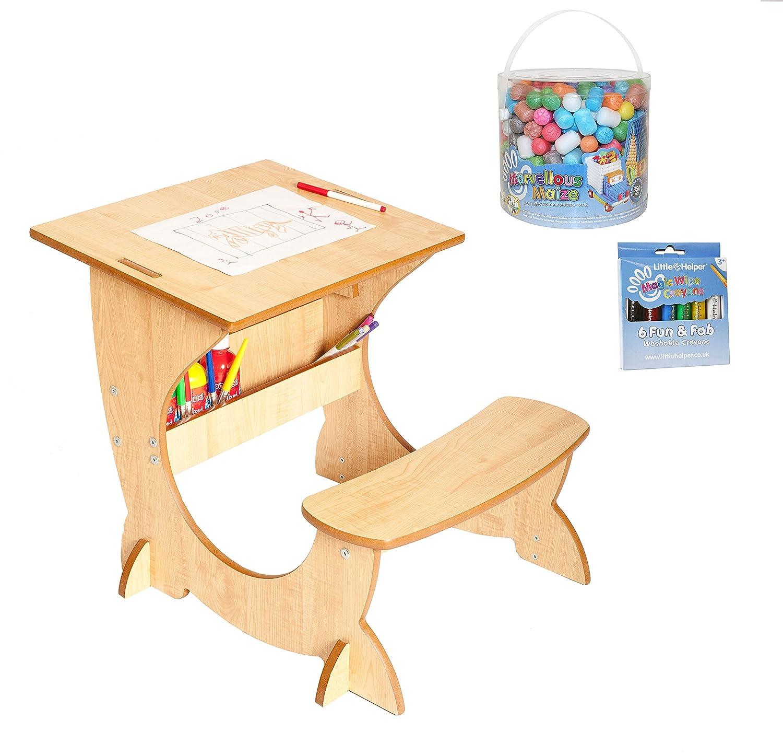 Little Helper en semble 4- en 1 Bureau, Tableau & Chevalet Réversible en Bois pour Enfants Artstation avec Crayons magiques lavables/merveilleux maïs NB/FPT01-3WFR