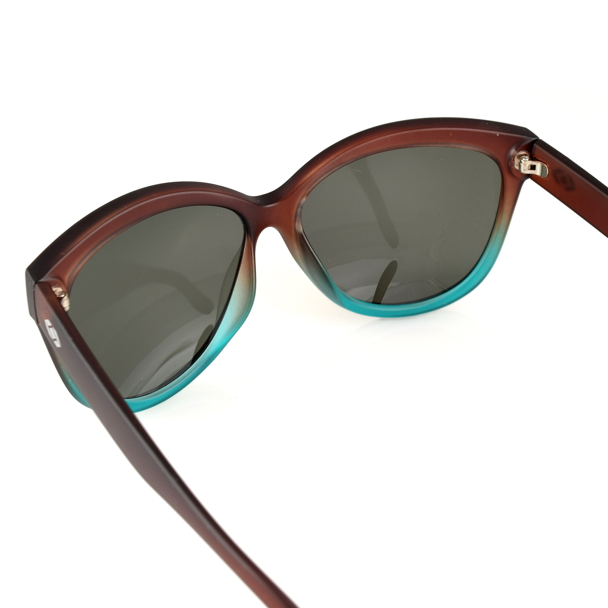 13Fifty Miami Women's Sunglasses, Cat Eye Glasses Brown & Green Fashion Frame, Green Gray Polarized Lenses by 13Fifty (Image #5)