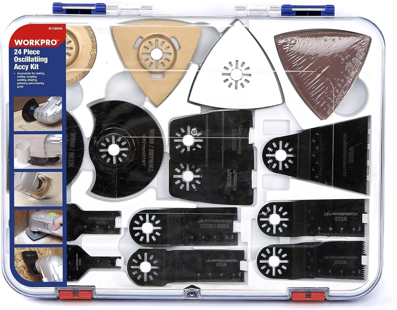 WORKPRO 24 PCS Juego de Accesorio Oscilante Sierra, Cuchillas Oscilantes Multiherramienta con Caja Portátil