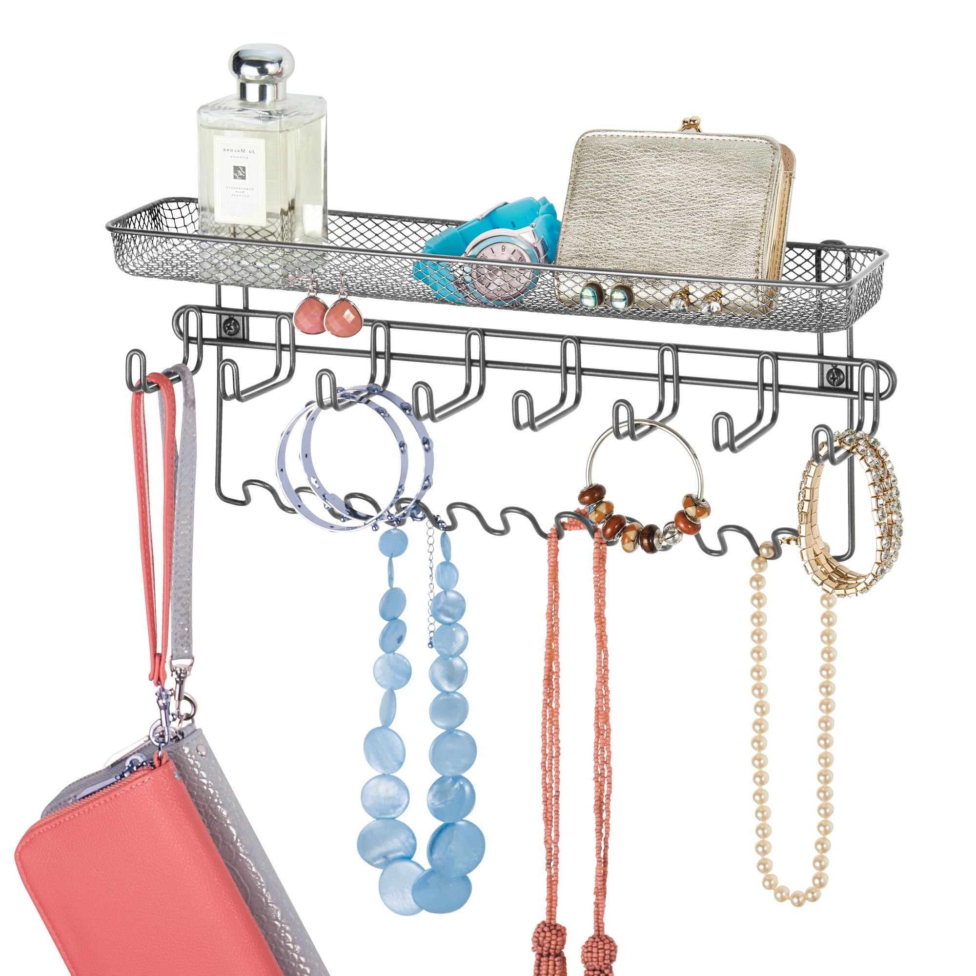 mDesign Decorative Metal Closet Wall Mount Jewelry Accessory Organizer for Storage of Necklaces, Bracelets, Rings, Earrings, Sunglasses, Wallets - 8 Large Hooks/11 Small Hooks/1 Basket, Graphite