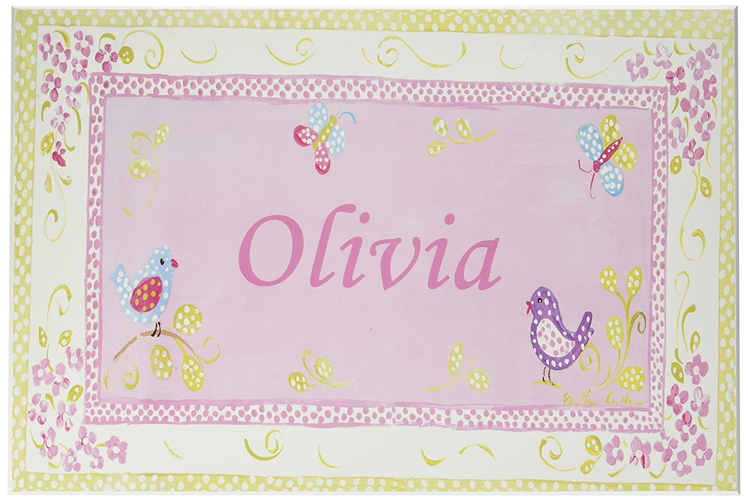 The Kids Room by Stupell Olivia, Pink and Green Chickadees Personalized Rectangle Wall Plaque