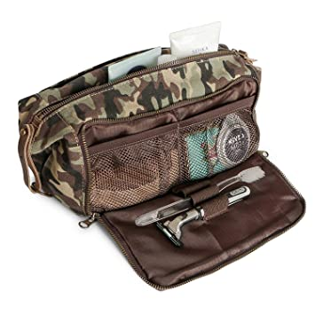4e23451878 Image Unavailable. Image not available for. Color  DOPP Kit Mens Toiletry  Travel Bag YKK Zipper Canvas   Leather (Large ...