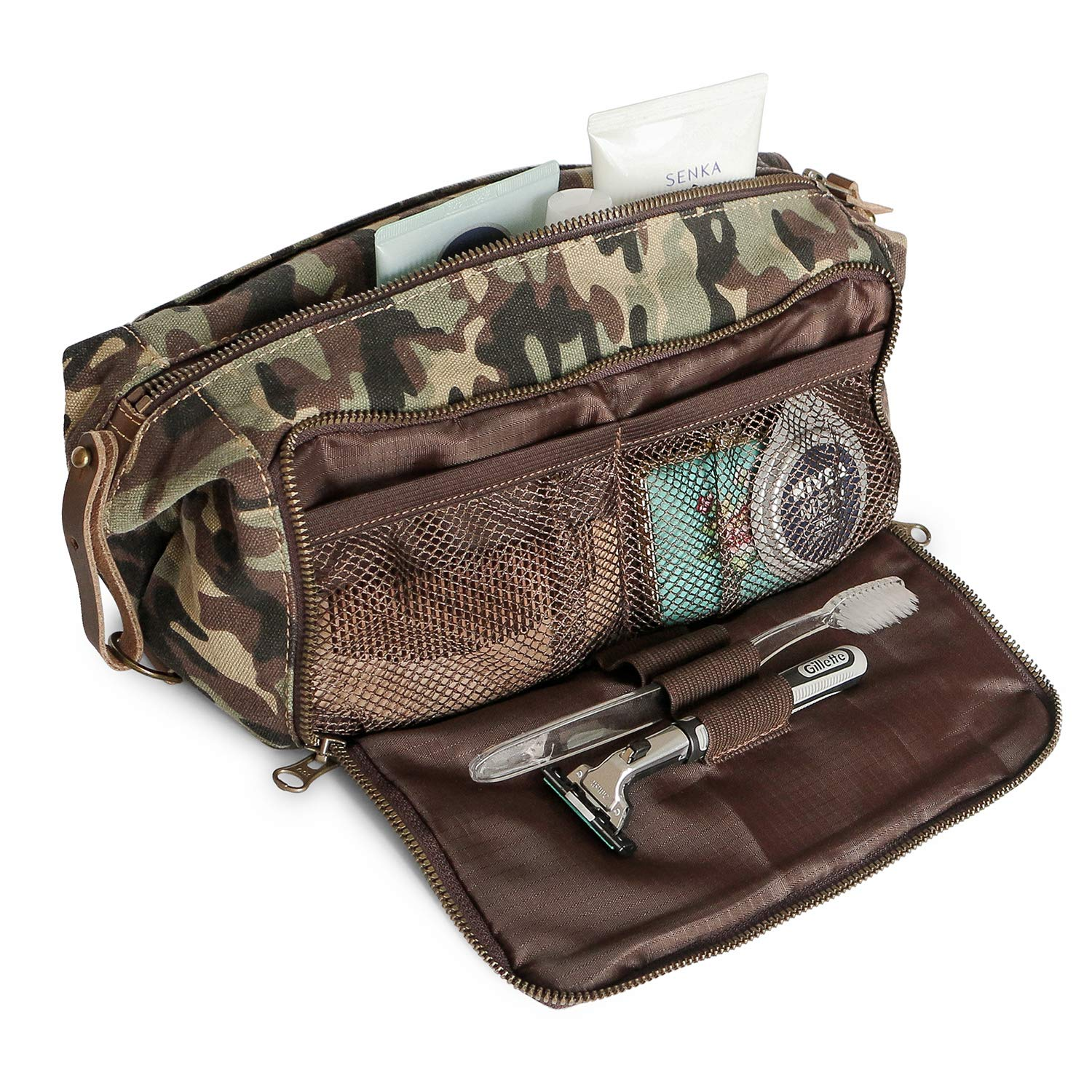 e78d7bb713 Amazon.com   DOPP Kit Mens Toiletry Travel Bag YKK Zipper Canvas   Leather  (Large