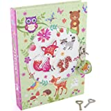 """Hot Focus Flower Critter Secret Diary with Lock - 7"""" Scented Journal Notebook with 300 Double Sided Lined Pages, Padlock and Two Keys for Kids"""